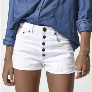 "ONE TEASPOON White Denim ""Harlet"" Shorts"